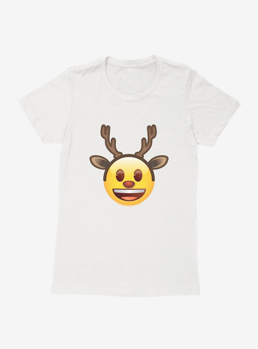 Emoji Holiday Icons Happy Face Reindeer Womens T-Shirt