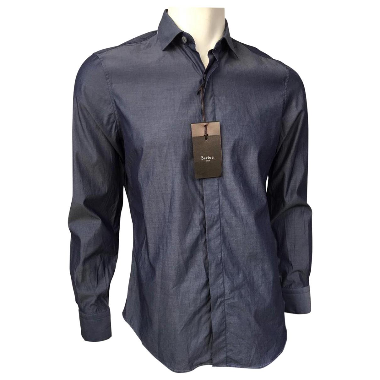 Berluti \N Navy Cotton Shirts for Men 15.5 UK - US (tour de cou / collar)