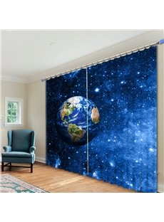 Dreamy Earth and Galaxy Printed 3D Curtain
