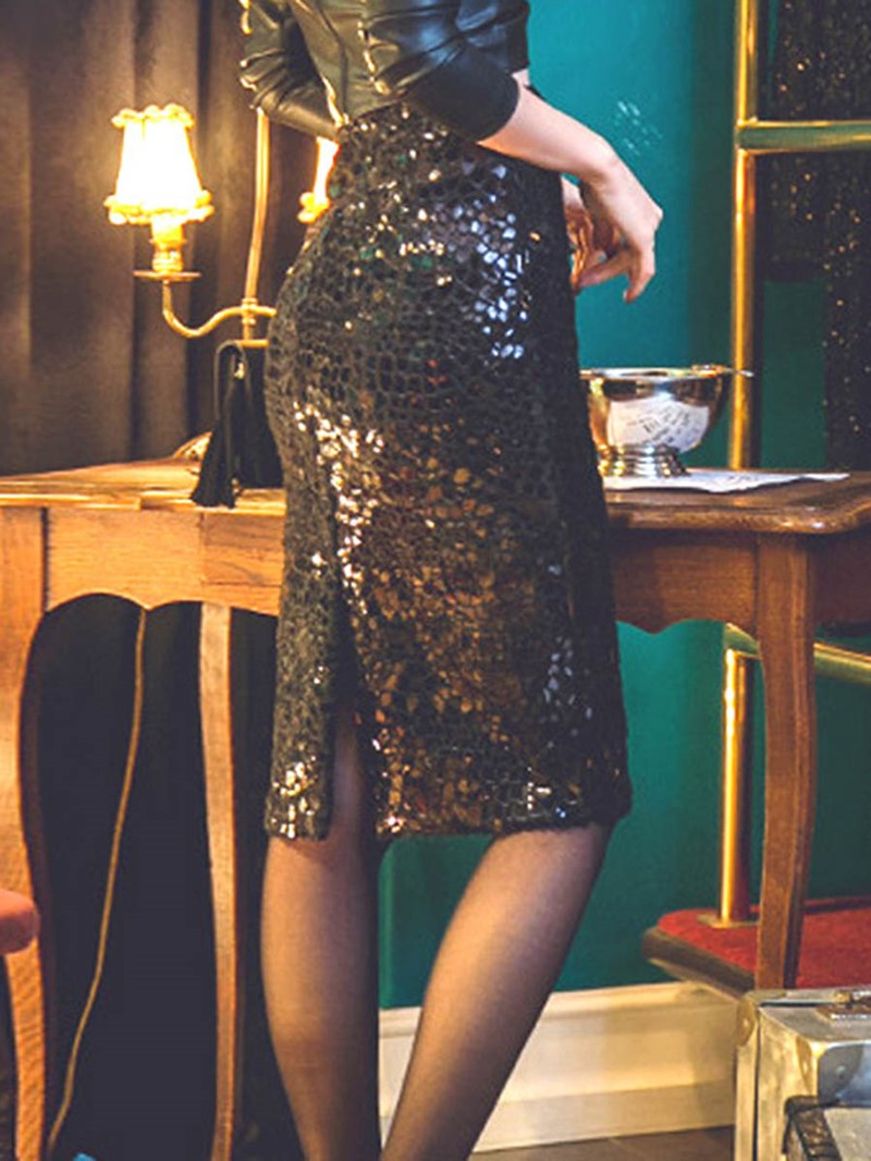 Ericdress Sequins Plain Bodycon Slit Women's Skirt