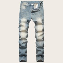 Guys Button Fly Washed Jeans