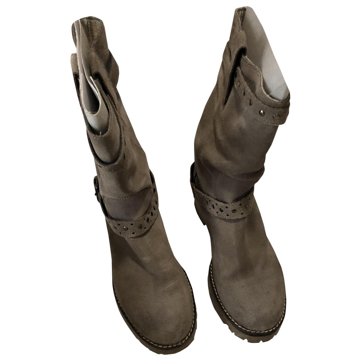 Baldinini - Bottes   pour femme en cuir - beige