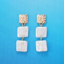 1pair Square Faux Pearl Chain Drop Earrings