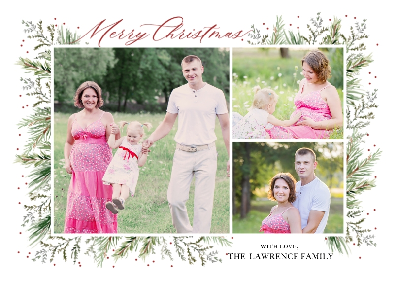 Christmas Photo Cards 5x7 Cards, Premium Cardstock 120lb, Card & Stationery -Christmas Foliage Borders by Tumbalina