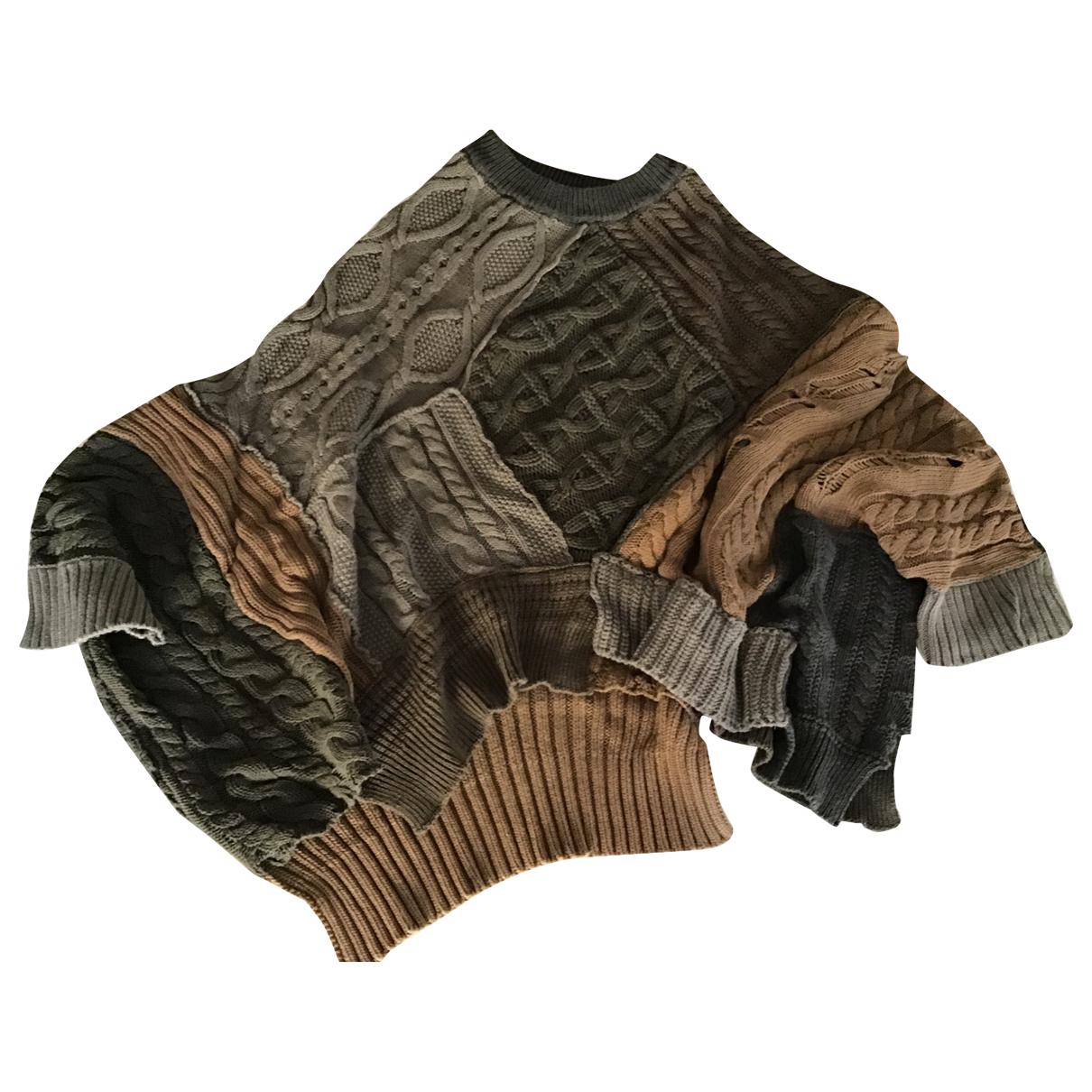 Zara - Pull   pour femme en coton - kaki