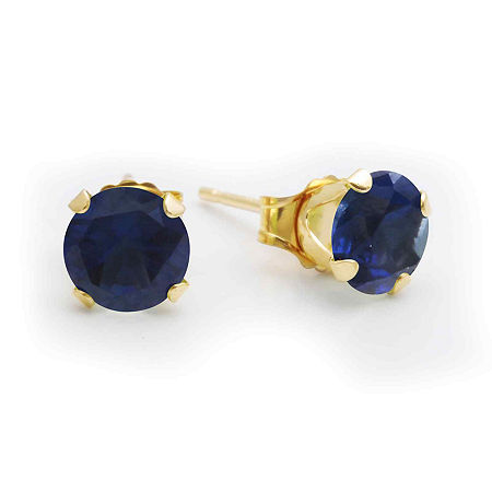 6mm Lab-Created Sapphire 10K Yellow Gold Stud Earrings, One Size , Blue