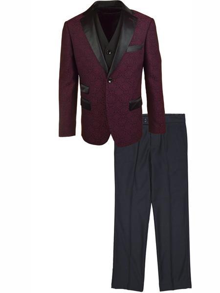 Fashion Designed 3 Piece Notch Lapel Burgundy Vested Tuxedo Suit