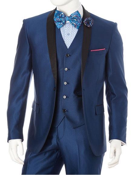Men's Lorenzo Bruno 1 Button Shawl Lapel Blue Slim Fit Suit