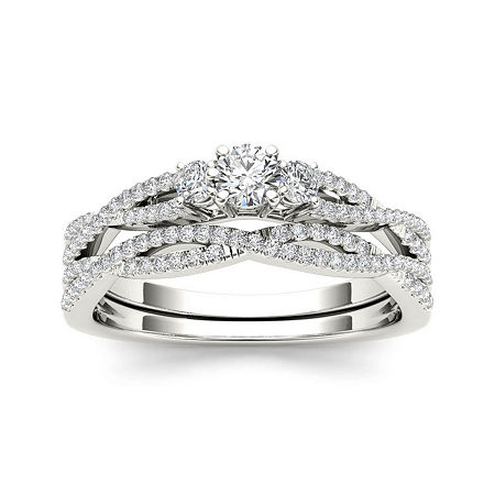 1/2 CT. T.W. Diamond 14K White Gold Crossover Bridal Ring Set, 8 1/2 , No Color Family