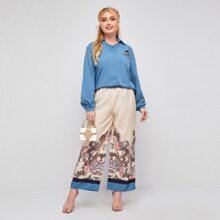 Conjunto camisa aplique floral 3D con pantalones palazzo con paisley