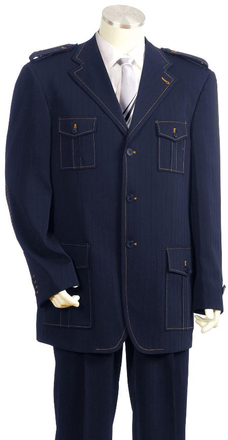 3 Button Navy Safari Military Style Zoot Suit Mens