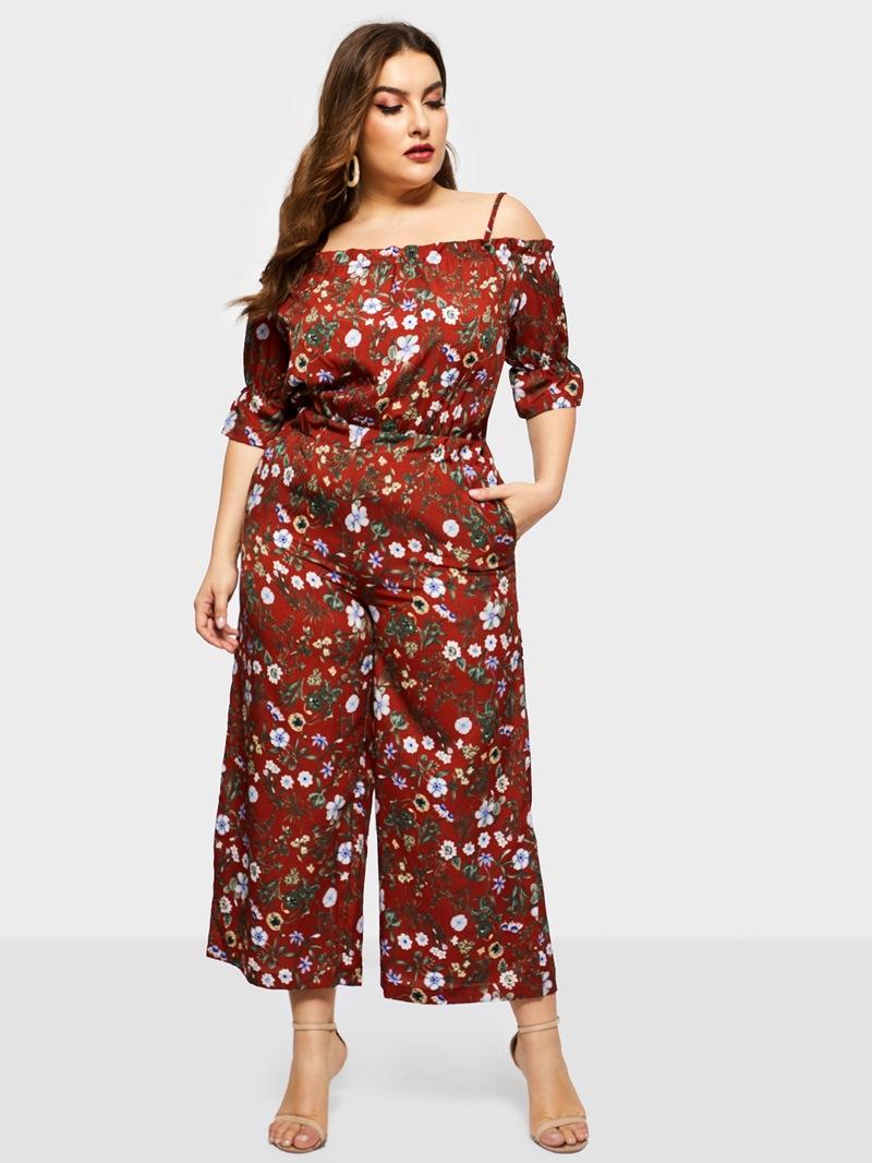 Ericdress Plus Size Bohemian Floral Print Wide Legs High Waist Jumpsuit