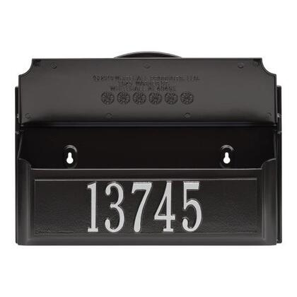 11247 Colonial Wall Mailbox Set 1 with Mailbox  Plaque & Monogram with Alumi-Shield and Two keyhole-style mounting holes in Black and Silver