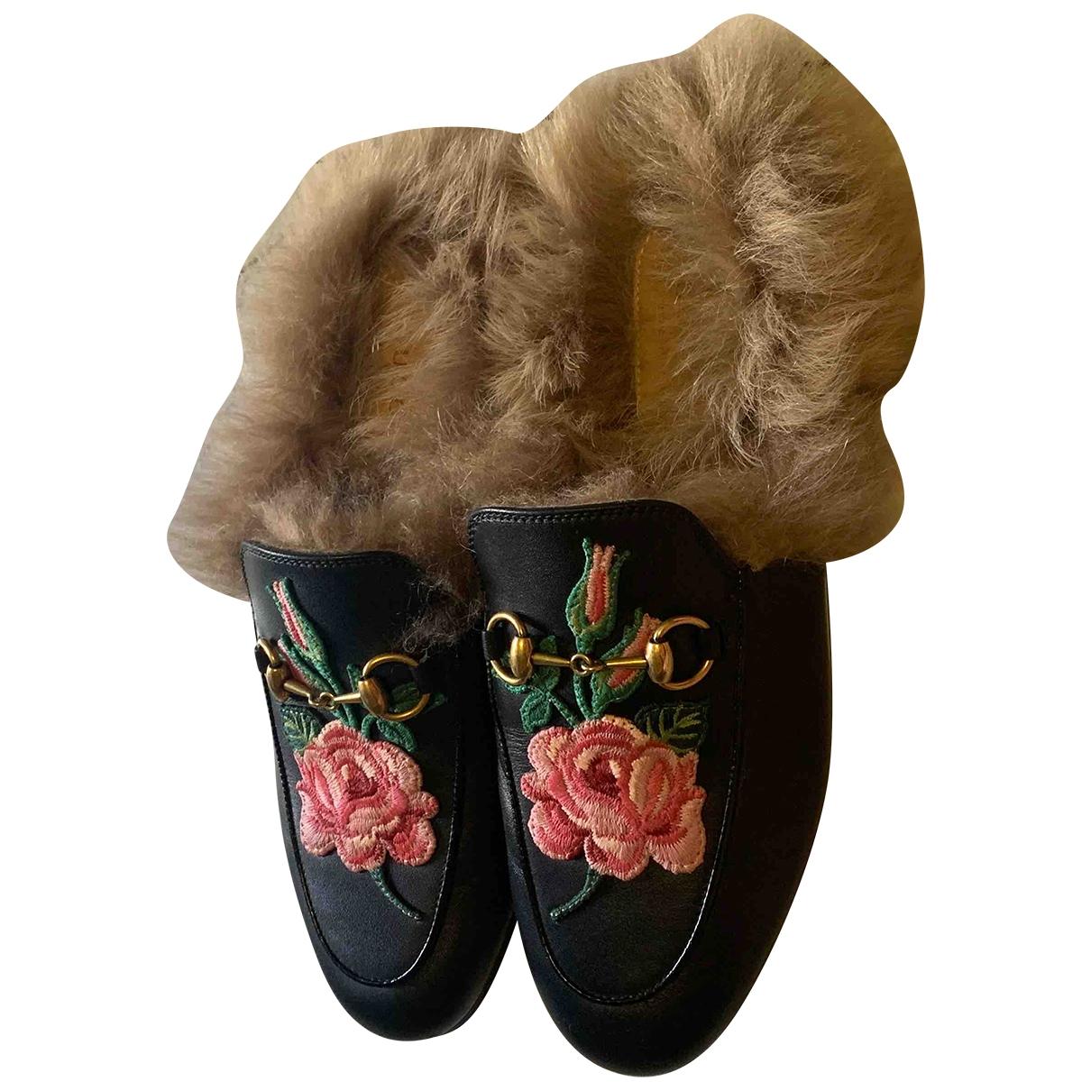 Gucci Princetown Black Fur Flats for Women 36.5 EU