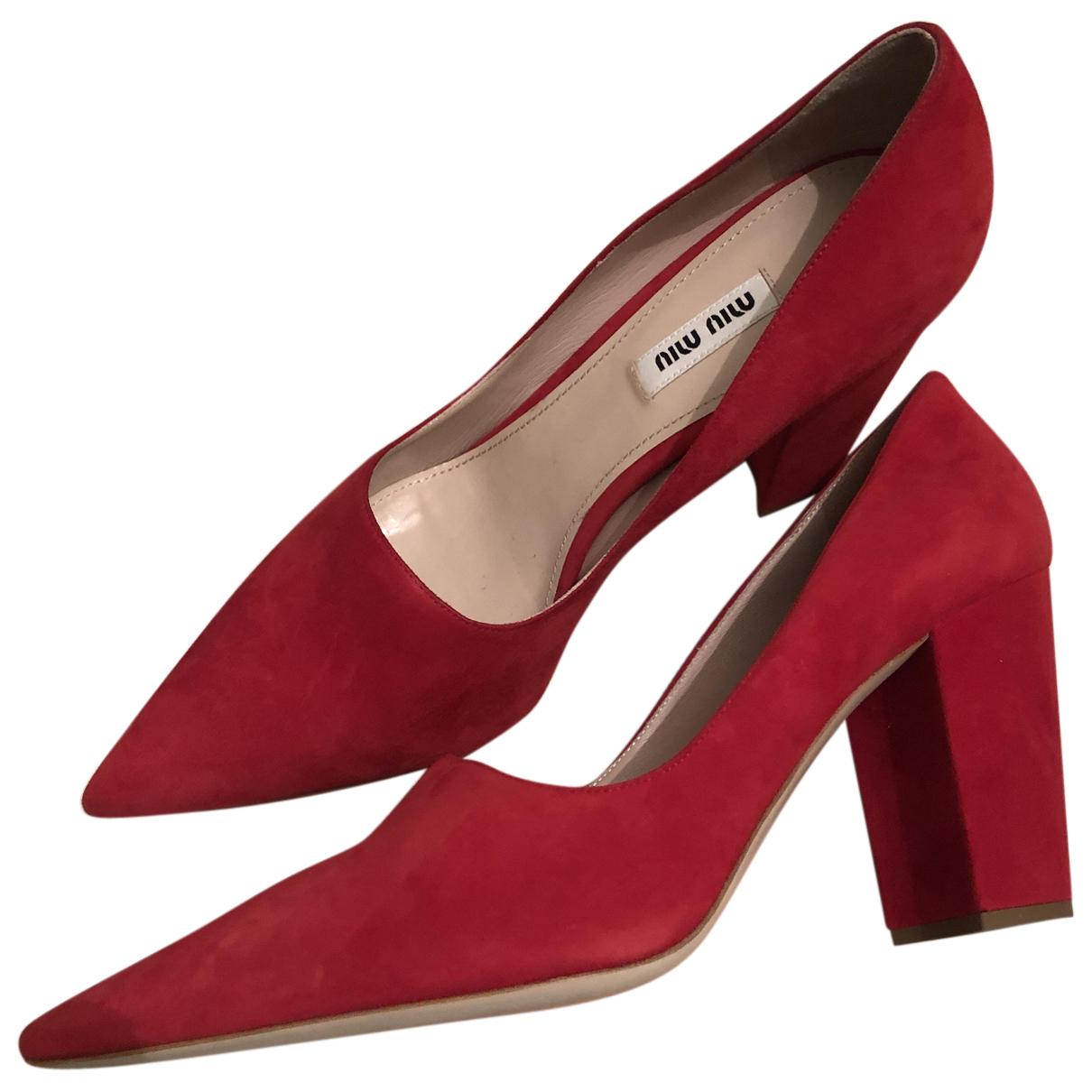 Miu Miu - Escarpins   pour femme en cuir - rouge