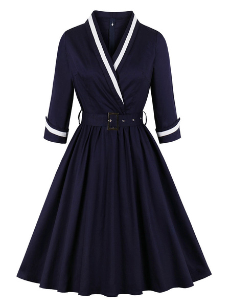 Milanoo Women Vintage Dress 1950s Dark Navy Two Tone Belted Long Sleeves V Neck Midi Dress