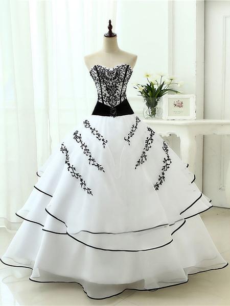 Milanoo Vestidos de novia negros Princesa Silueta Sin mangas Encaje Organza Hasta el suelo Vestido de novia