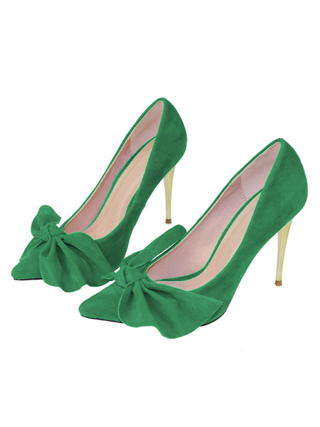 Milanoo Women High Heels Suede Pointed Toe Bow Slip On Pumps