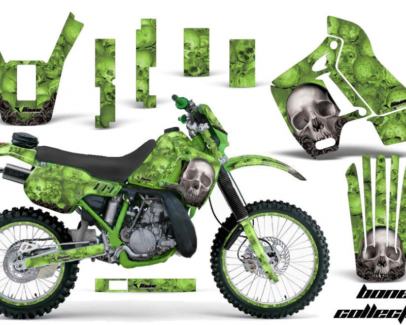 AMR Racing Graphics MX-NP-KAW-KDX200-89-94-BC G Kit Decal Sticker Wrap + # Plates For Kawasaki KDX200 1989-1994 BONES GREEN