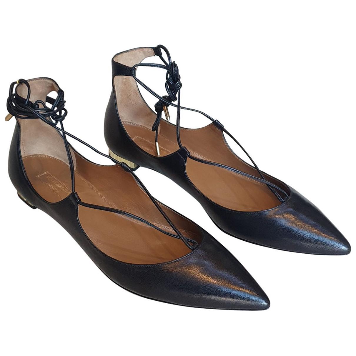 Aquazzura - Ballerines   pour femme en cuir - noir
