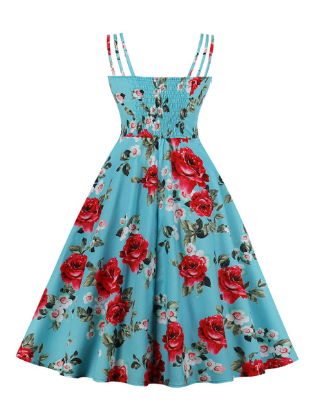 Milanoo Retro Dress 1950s Bateau Neck Open Shoulder Sleeveless Woman\'s Knee Length Floral Print Swing Dress