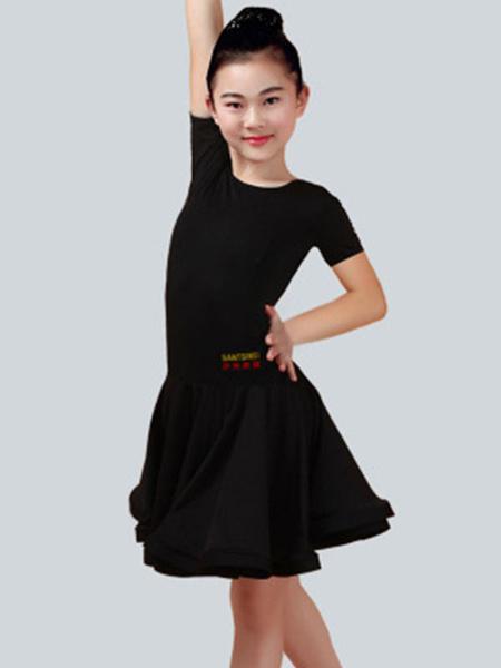 Milanoo Dance Costumes Latin Dancer Dresses Kids Orange Short Sleeve Little Girls Ballroom Dancing Halloween