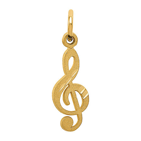 Treble Clef Womens 14K Gold Pendant, One Size , No Color Family
