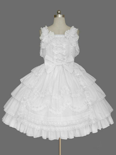 Milanoo Sweet Lolita JSK Dress Pink Sleeveless Ruffles Lolita Jumper Skirts