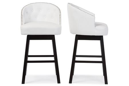 Avril Collection BBT5210A1-BS-WHITE Set of 2 Barstools with Rubberwood Frame  Swivel Mechanism  Footrest Support  Button Tufted Backrest  Nail Head