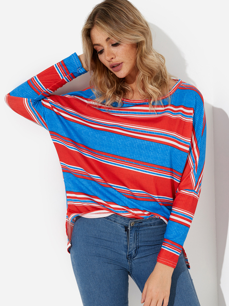 Yoins Blue & Red Stripe Scoop Neck Bat Sleeves T-shirts
