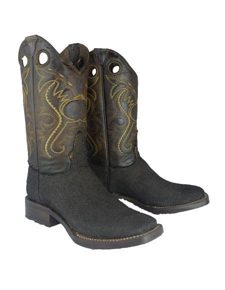 Men's Bota Rodeo Forrada Yute Dress Shoes Color Negro
