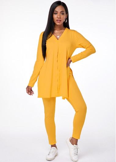 V Neck Long Sleeve Top and Pants - 2XL