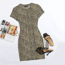 Cap Sleeve Leopard Print Bodycon Dress
