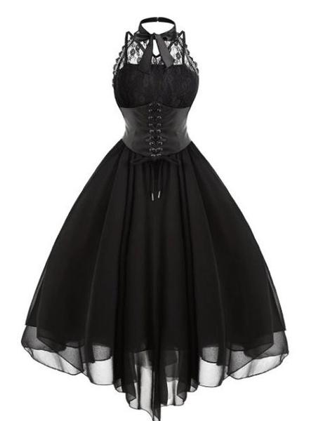 Milanoo Vestido Gothic Lolita JSK Volantes De Gasa De Encaje Faldas Lolita Jumper