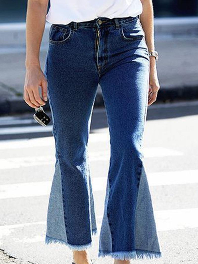 Ericdress Bellbottoms Color Block Zipper Zipper Slim Jeans