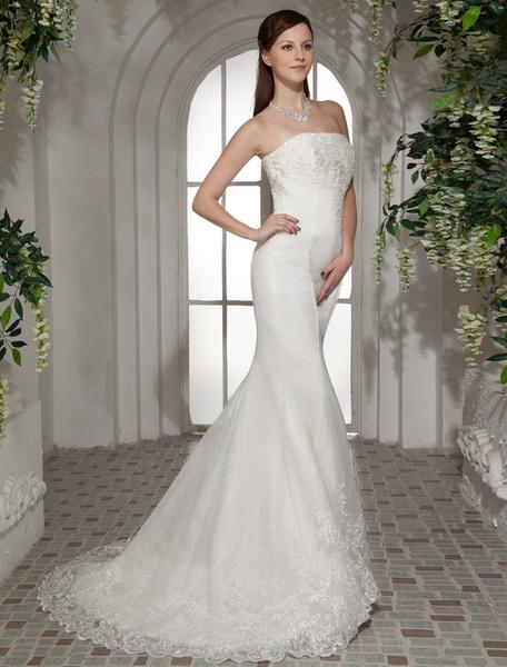 Milanoo Vestido de novia con escote palabra de honor y pinchos de cola barrida