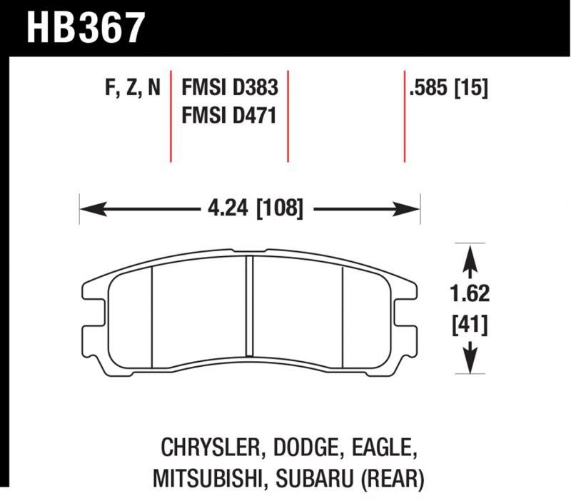 Hawk Performance HB367F.585 Disc Brake Pad Rear