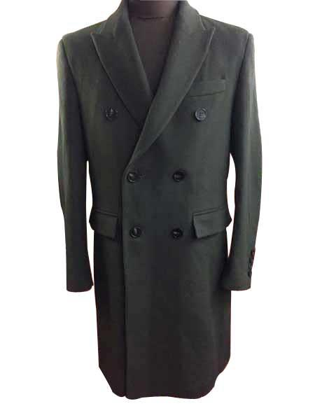 Men's Olive Double Breasted Peak Lapel 6 Buttons Wool Overcoat