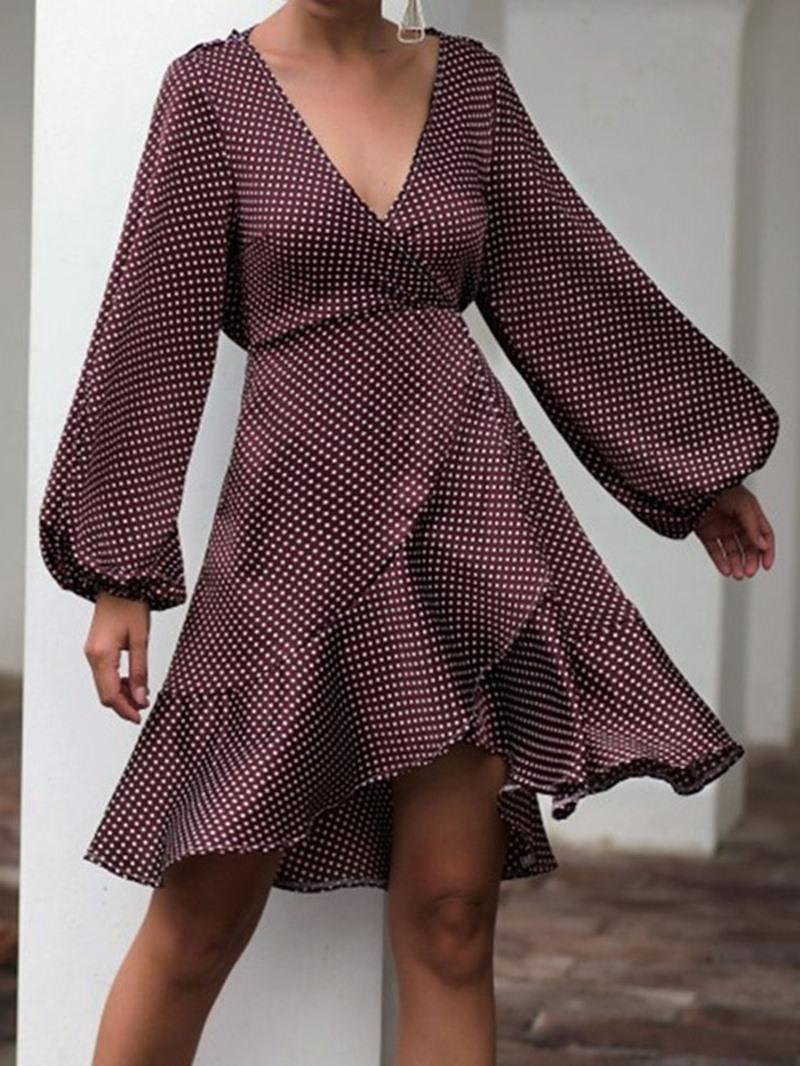Ericdress Asymmetric V-Neck Long Sleeve Lantern Sleeve Casual Dress