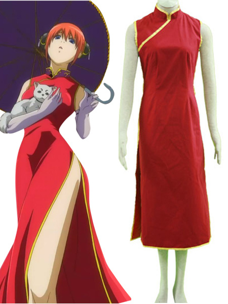 Milanoo Gintama Kagura Hallween Cosplay Costume Long Cheongsam Version Halloween