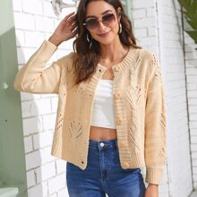 Eyelet Cable Knit  Button Front Cardigan