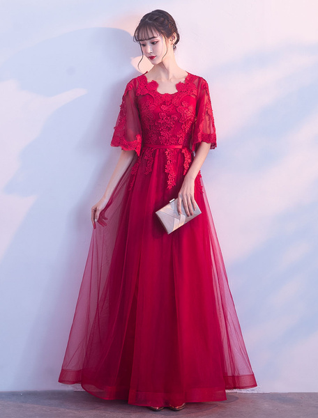 Milanoo Prom Dresses Long Lace Applique Formal Dress Half Sleeve Tulle Floor Length Evening Dress