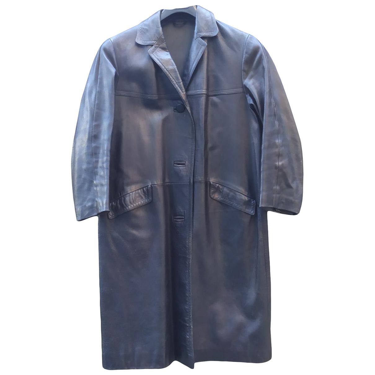 - Manteau Oversize pour femme en cuir - noir