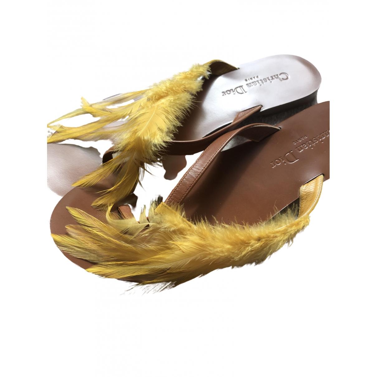 Dior \N Sandalen in  Gelb Leder