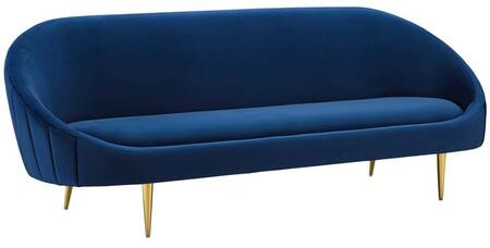 Sublime Collection EEI-3349-NAV 89 Sofa with Vertical Curved Channel Tufting Back  Non-Marking Foot Caps  Gold Stainless Steel Legs  Dense Foam