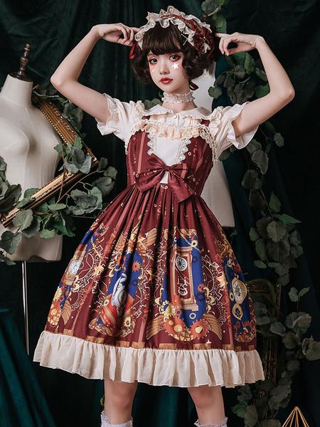 Milanoo Classic Lolita JSK Mechanic Heart Print Ruffle Bow Burgundy Lolita Jumper Skirt