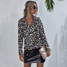 Blazers Boton delantero Leopardo Elegante