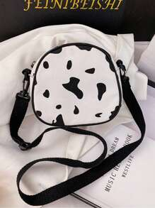 Cow Print Canvas Crossbody Bag