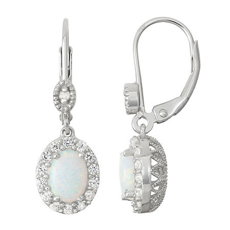 Lab-Created Opal & White Sapphire Sterling Silver Diamond Accent Leverback Earrings, One Size , No Color Family