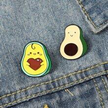 2 Stuecke Brosche mit Karikatur Avocado Design